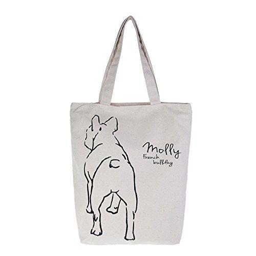 Französische Bulldogge zurück Body Big Leinwand Tasche für Das Mittagessen Oder Gehen Bio Farbe