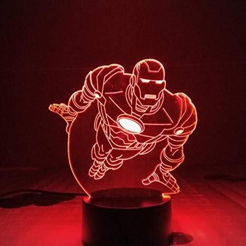 Lámpara de la noche de los niños en 3D Marvel The Avengers Superhero Capitán América Hulk Pantera...