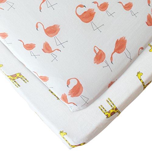 Baby Crib Sheets Set Matratzenschutz Musselin Baumwolle, Mini Portable Crib Sheet für Standard Krippe und Kleinkind Matratzen von Vlokup, Flamingo & Giraffe Drucke