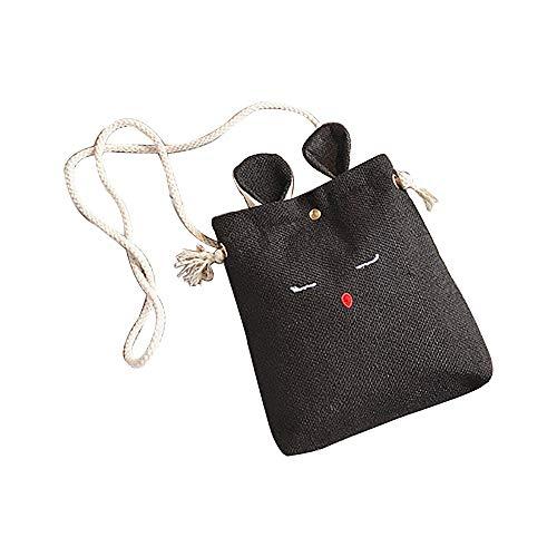 TianWlio Frauen Handtasche Sackleinen Katzenohren Kleine Quadratische Tasche Einfache Nette Schulter Crossbody Tasche Schwarz