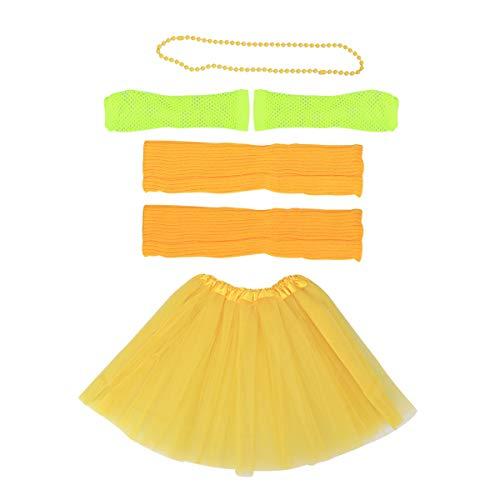 80er Jahre Weibliche Kostüm - Toyvian 80er Jahre Kostüm Sets für Frauen 80er Jahre Tutu Rock Fingerlose Netzhandschuhe Perlen Halsketten Bein Ärmel für 80er Jahre Party Zubehör (Gelb)
