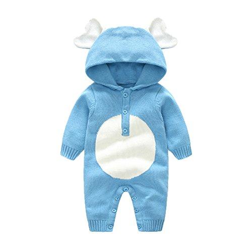 GWELL Baby Kleinkind Gestrickter Strampler Overall Jumpsuit aus Baumwolle Elefant Tieroutfit Tier Kostüm mit Kapuze für Jungen Mädchen Blau ()
