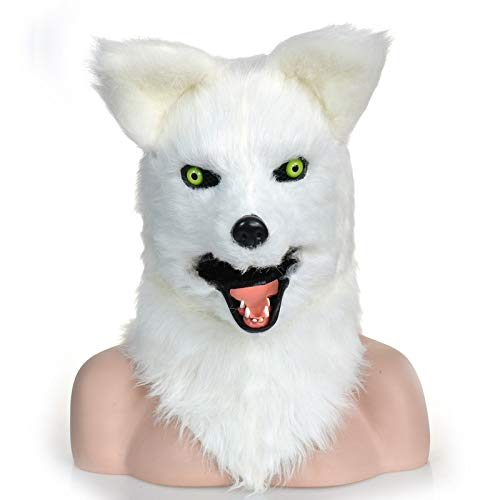 XIANGBAO-masks party moving mouth fox mask/ furry mask halloween animal  party mask ( Color : White , Size : 25*25 )