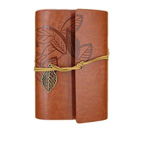 cosanter Einband Vintage Notebook PocketBook Loose Leaf Leder Bezug Travel Journal Geschenk (braun)