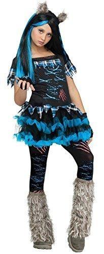 Mädchen 5 Stück Böse Werwolf Wolf + Strumpfhose + Stiefel Abdeckung Halloween Animal Kostüm Kleid Outfit 4-12 jahre - Schwarz/Blau, Schwarz/Blau, 4-6 (Wolf Ohren Stirnband)