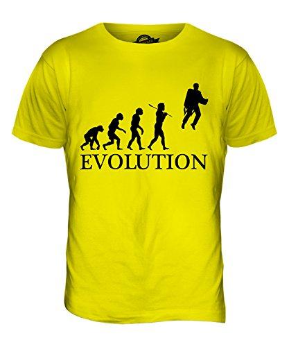 CandyMix Raketenrucksack Jetpack Evolution Des Menschen Herren T Shirt Zitronengelb
