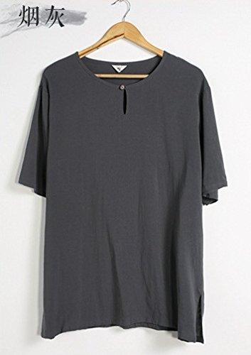 Honghu Herren Loose Crew Neck T-shirt Grau
