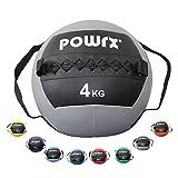 POWRX Balle de poids avec bande de serrage I Ballon de gymnastique /Medicine Ball 1 - 8 kg différentes couleurs I Balle de fitness Medicine (Gris, 4 kg)