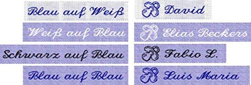 50 gewebte Etiketten mit Motiv Schnuller (Junge) und Ihrem Namen zur Kennzeichnung von Babykleidung 10mm