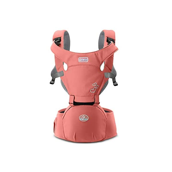 SONARIN Front Premium Hipseat Baby Carrier, Multifunctional, Ergonomic, 100% Cotton, Butterfly Rotary Buckle, 6 Carrying Positions, Adapted to Your Child's Growing,Ideal Gift(Pink) SONARIN Applicable age and Weight:3-36 months of baby, the maximum load: 20KG, and adjustable the waist size can be up to 47.2 inches (about 120cm). Material:designers choose comfortable and soft 100% cotton fabric, soft color, breathable, no irritation to the baby's skin. Baby carrier also designed anti-friction legs cushion, prevent the carrier to hurt the baby, to the baby comfortable and enjoyable. Description: patented design of the auxiliary spine micro-C structure and leg opening design, natural M-type sitting. Widen the shoulder strap and belt will be effective to disperse the baby's weight to the shoulder and waist, so that mother more effort. EPP seat core, no deformation, baby sitting more comfortable. 2