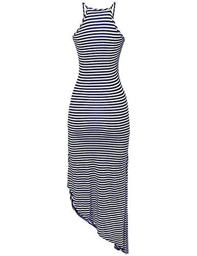 Eliacher Frauen hling und Sommer einfachen Falten Weste Rock Kleid 6070 Blau Weiß