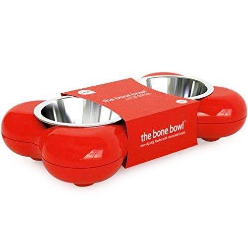 Artikelbild: Hundenapf aus Edelstahl in Knochenform – für Wasser und Futter, rot
