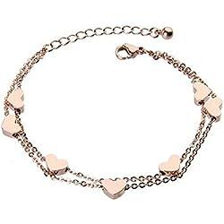 findout Damen 14K Roségold vergoldet Titan Stahldraht perfekte sieben Herzen Fußkettchen / Armbänder, für Frauen, Mädchen, (f1235) (Fußkettchen)