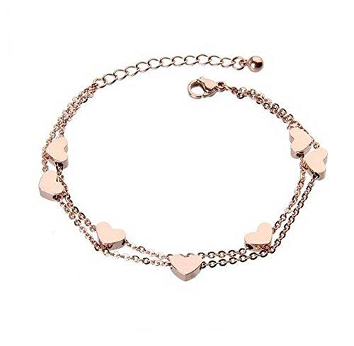 findout Damen 14K Roségold vergoldet Titan Stahldraht perfekte sieben Herzen Fußkettchen / Armbänder, für Frauen, Mädchen, (f1235) (Armbänder)
