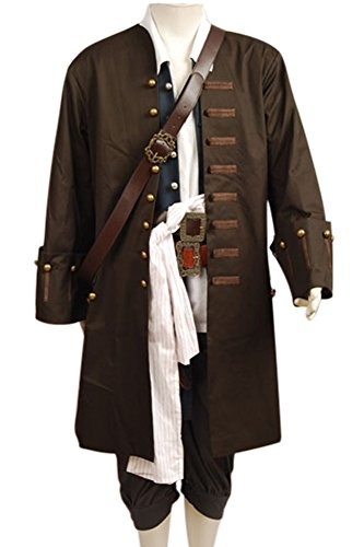 FUMAN Pirates of The Caribbean Jack Sparrow Hemd Cosplay Kostüm Set L (Jack Kostüm Pirate Le)