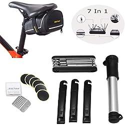 Kit de Reparación de Bicicletas, OUTERDO 7 en 1 Herramientas de Reparación Multifuncionales con Bolsa de Ciclismo para Todas las Bicicletas