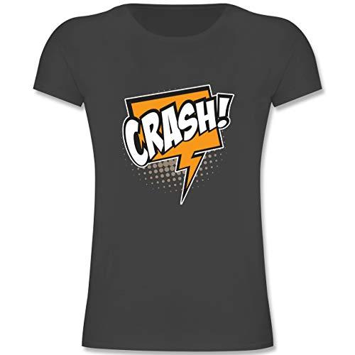Retro Girl Comic Kostüm - Karneval & Fasching Kinder - Popart Karneval Kostüm Crash! - 128 (7-8 Jahre) - Anthrazit - F131K - Mädchen Kinder T-Shirt
