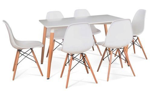 Schindora® Charles & Ray Eames Inspired Eiffel DSW Retro Design Wood Style 6 Chairs and Table Set for Office Lounge Dining Kitchen - White