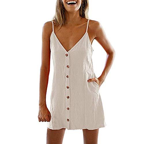 Beonzale Sommerkleider Sleeveless Damenmode Mit V-Ausschnitt Sleevele Button Taschen Reine Farbe Lose Sommer Minikleid ()