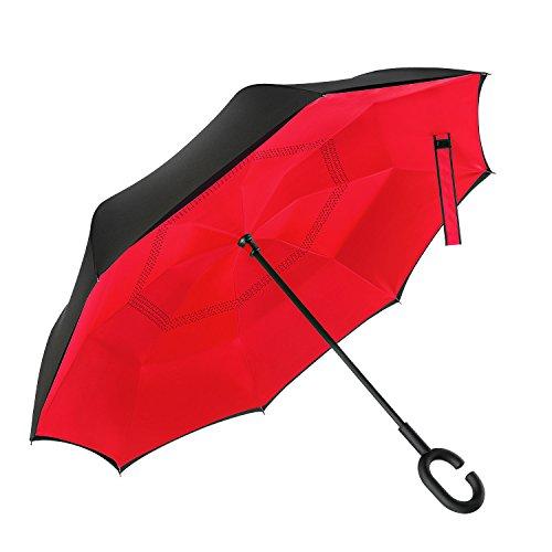 Elover 32en X 8panneaux double couche inversé Parapluie, Rouge pur