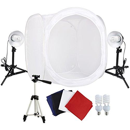 Grandekor Lichtzelt mit Beleuchtung 80x80x80cm Lichtwürfel Mobiles Fotostudio Mini Dauerlicht Softbox 4 Hintergrundstoffe Fotozelt Beleuchtung Fotostudio Set 2 Fotolampe 1 Kamerastativ