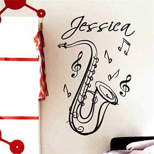 fenceweb Saxophone benutzerdefinierte Name Musikinstrument Vinyl wandtattoo Aufkleber künstler Dekoration wandbild Mode Zimmer wandaufkleber schwarz