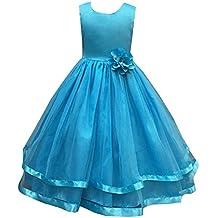 Maxi Bodas Vestido De Princesa De Niñas Vestidos Elegante De Coctel Fiesta Largos De Noche Agua Azul para 150CM