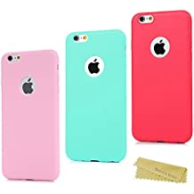 3x Funda iPhone 6 Plus, Carcasa Silicona Gel iPhone 6s Plus - Mavis's Diary Mate Case Ultra Delgado TPU Goma Flexible Cover Protectora para iPhone 6 Plus/iPhone 6s Plus 5.5 Pulgada Color Rosa+Verde menta+Roja