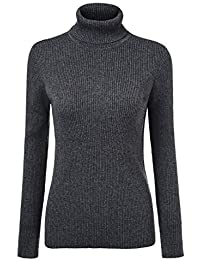 Jersey Cuello Alto Mujer Otoño Invierno Moda Slim Fit Suéter De Punto Manga  Larga High Collar Color Sólido Termica… ed9e2bd1ea71