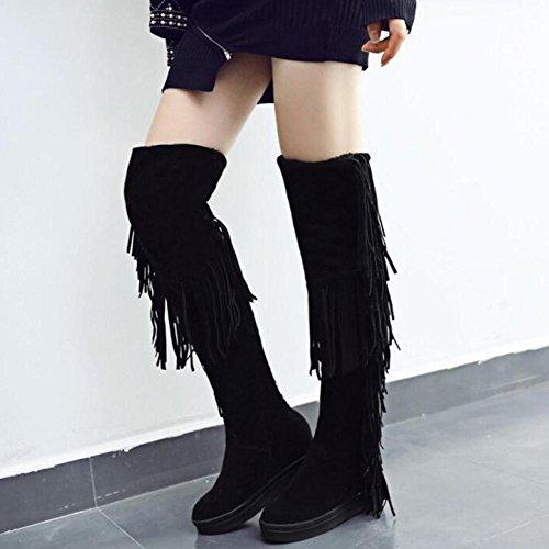 WYWQ Stivali sopra il ginocchio Stivali da neve 40-45 Stivali donna di grandi dimensioni Stivali peluche Tassel High Tube Mantenere caldi stivali di cotone ispessimento black