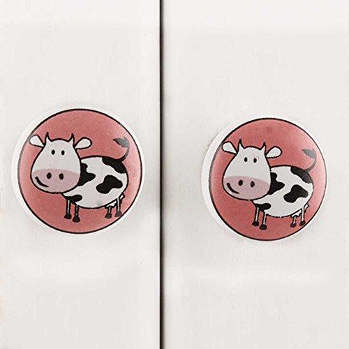 Indianshelf Handmade 6 Stück Keramik Kuh Schublade Knöpfe Schrank Kommode Schrank Tür zieht Schrank Online Neue (Kommode Sechs Mädchen Schublade)