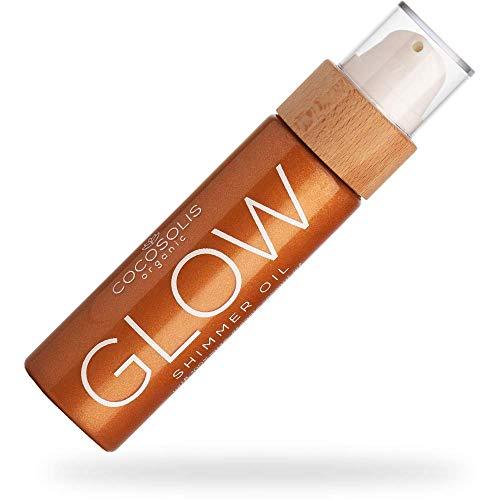 COCOSOLIS Glow Bio Körperöl - Schimmerendes Körperöl mit Gesicht Glitzer, Verleiht Bronze Schimmer - Organisch natürliche Zutaten - Neuer Keks Duft (110 ml)