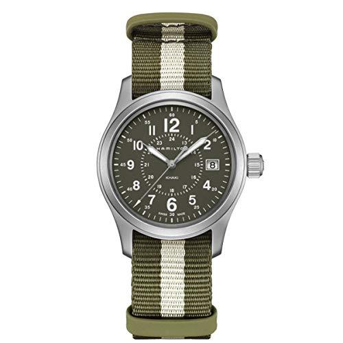 Hamilton H68201063Khaki Field à Quartz Montre Homme Vert/Blanc NATO