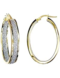 Jewelco London Ladies 9ct Yellow Gold MoonDust StarDust Double Sided Oval Hoop Earrings