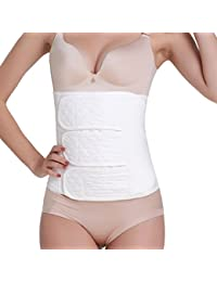 FEOYA cotone da donna regolabile traspirante Vita Cintura dimagrante addome dopo il parto, Bianco, M
