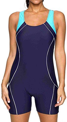 BeautyIn Damen Badeanzug Boyleg Racerback Einteiler Athletic Badeanzug, Damen, Navy, 12/Tag XL -