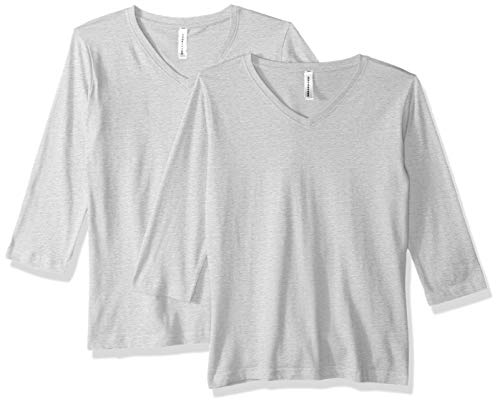 AquaGuard Damen Combed Ringspun V-Neck 3/4-Sleeve 2 Pack T-Shirt, Heather, Mittel -