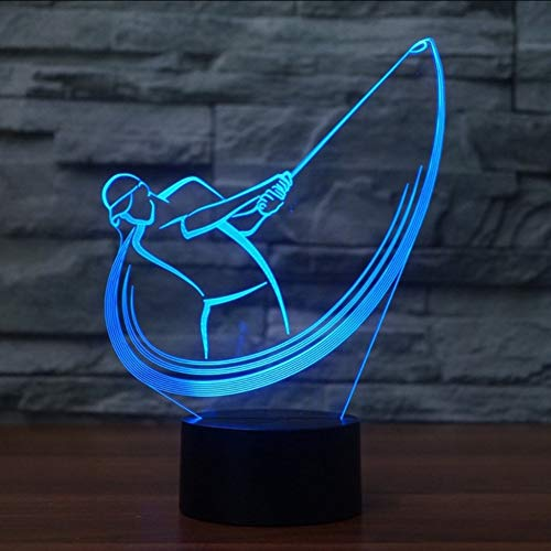 Mbambm Schlafzimmer Büro Dekor 3D Acryl Golfschwung Modellierung Schreibtischlampe Led-Nachtlicht 7 Farbwechsel Leuchte Sport Fans Geschenke -