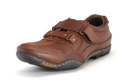 Egoss Men's Tan Leather Casual Non-Lacing Shoes-11