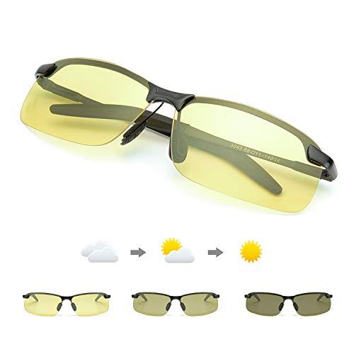 TJUTR Polarisierte Nachtsichtbrille Herren Photochromatisch Sports für100% UVA UVB Schutz Metallrahmen Leicht Nacht Vision Blendschutz Brille (Schwarz/Gelb Photochromatisch)