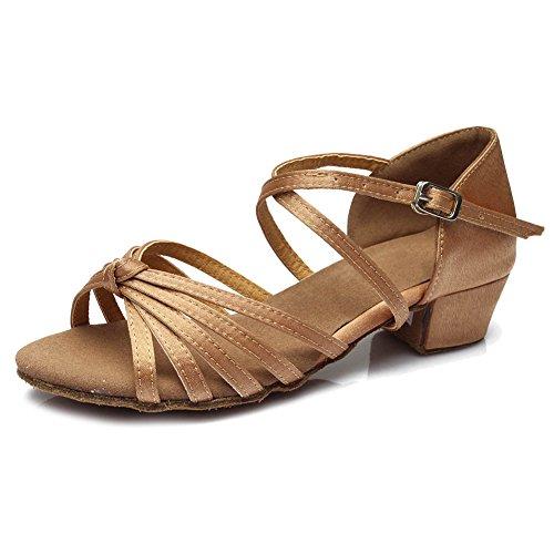 Hipposeus girls scarpe da ballo latino standard, tacco basso 3.5cm (1.37in),fare un nodo,itq203,beige,eu 24