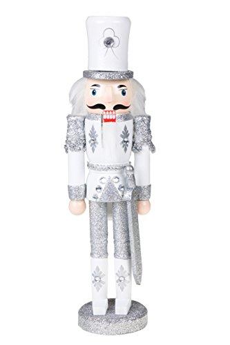 Clever Creations - Traditioneller Nussknacker-Soldat aus Holz mit Glitzer und Schwert - Festliche Weihnachtsdeko - perfekt für Regale & Tische - Weiß und silberfarben - 30,5 cm