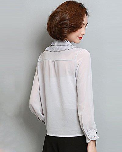 Mousseline col Arc Noeud Longues Manches Chemise Chiffon Casual Femmes Tee shirt Gris