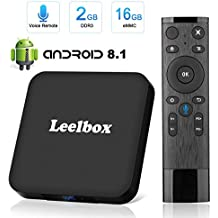 Leelbox Android 8.1 TV Box avec télécommande vocale Q2 MINIS 2 Go RAM + 16 Go ROM support 4 K (60Hz) Smart TV Box/2.4G wifi/4 K/HD/H.265