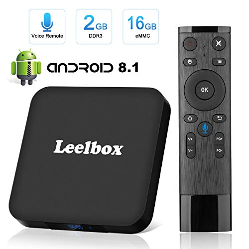 Android 8.1 TV Box, Leelbox Smart TV Box Quad Core 2GB RAM+16GB ROM, 4K*2K UHD H.265, HDMI, USB*2, WiFi Media Player, Android Set-Top Box con Voice Remote Control