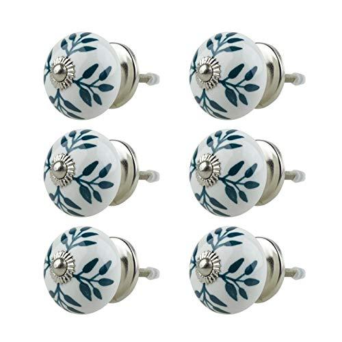 Möbelknopf Möbelknauf Möbelgriff 6er Set 015GN Weiß Grün - Jay Knopf Keramik Porzellan handbemalte Vintage Möbelknöpfe für Schrank, Schublade, Kommode, Tür -