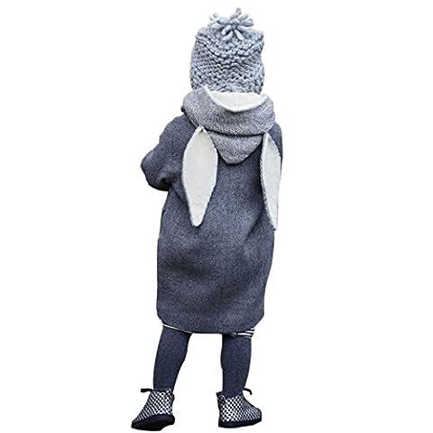 Longra Baby Kinder Jungen Mädchen Winterjacke Kinderjacken mit Kapuze Rabbit Ohren Mantel Jacke Unisex Baby Kinder starke warme Sweatjacke Fleecejacke Outdoorjacket (1-8Jahre) (140CM 7Jahre,