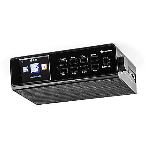 auna KR-190 • Küchenradio • Internet Radio • Unterbau Radio • UPnP / DLNA Streaming • 250 Senderspeicherplätze • MP3-fähiger USB-Port • WiFi • AUX-Eingang • TFT-Farbdisplay • Equalizer • Dual-Alarm • Schlummerfunktion • Fernbedienung • schwarz