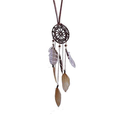Billig Cowgirl Kostüm - Sunnywill Dreamcatcher Feder Federn handgewebte Halskette long Pullover Kette für Frauen Mädchen Damen (Kaffee)