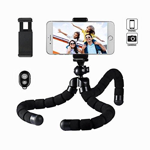 XINER Flexible Mini Trípode para Smartphone, Cámara con Control Remoto Bluetooth y Adaptador para iPhone Samsung e Altre Smartphones